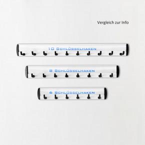 10er Schlüsselhakenleiste mit Klebehaltern und variablen Anschraubpunkten / 315 mm Schlüsselleiste mit 10 Schlüsselhaken
